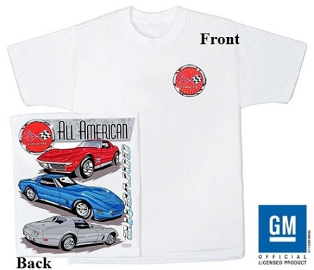 LARGE Corvette C-6 White tee Shirt with Front C6 Logo and Graphics on Back