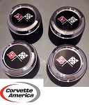 73-79 Corvette Aluminum Wheel Center Cap New With Emblem *FULL SET*