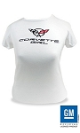 Corvette Girl C5 Ladies White Babydoll Tee (Choose Size)