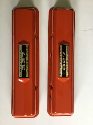 Chevy 327 Valve Covers ,FACTORY ORANGE PAINTED 1962-1967