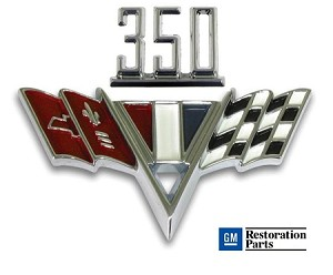 CHEVY 350 V-Flag Fender Emblem Set ** Chevy II, Chevelle, Camaro & Full Size