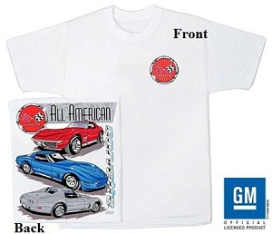 Large Corvette C-3 All America White tee Shirt with Front C3 Logo and Graphics on Back